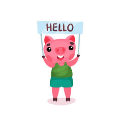 cute pig character holding banner with hello text vector image