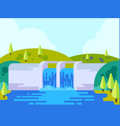 dam or hydro power plant in flat style vector image