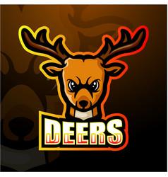 deer head mascot esport logo design vector image