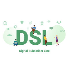 Dsl digital subscriber line concept with big word vector