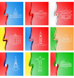 flags and sights of different countries icons in vector image