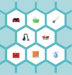 Flat icons laundry carpet vacuuming washcloth vector