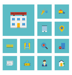 Flat icons real estate pin trinket and other vector