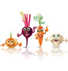 Funny vegetables onion beet carrot mushroom vector image