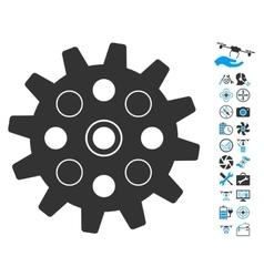 Gearwheel Icon With Copter Tools Bonus vector