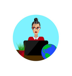 geography teacher in the study vector image