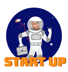 global startup support social media flat banner vector image