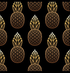 golden pineapple seamless pattern on black vector image