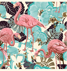 green and pink seamless floral pattern vector image