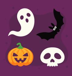 halloween pumpkin skull ghost and card vector image