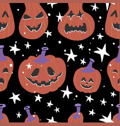 halloween seamless bright kids doodle pattern the vector image