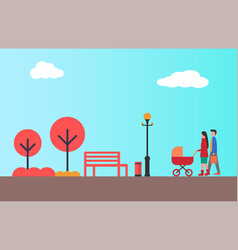 happy couple walking together with pram autumn vector image