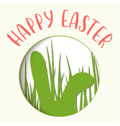 happy easter easter badge with rabbits ears vector image