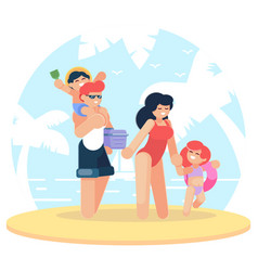 Happy family at the beach family having fun at vector