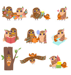 happy family owls set father mother and their vector image