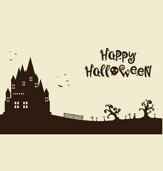 Happy halloween with castle background vector