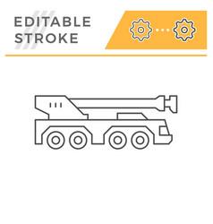 heavy mobile crane line icon vector image
