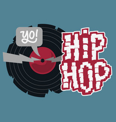 Hip hop design with a broken vinyl record vector
