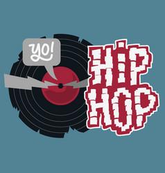 hip hop design with a broken vinyl record vector image