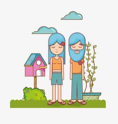 Hippies couple at garden vector