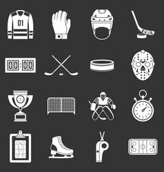 Hockey icons set grey vector
