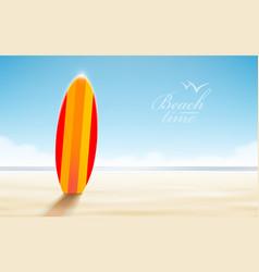 holidays design surfboards on a beach against a vector image