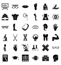 Human organ icons set simple style vector
