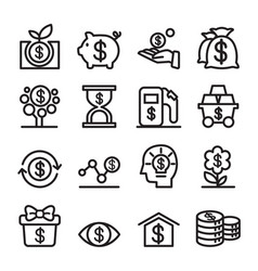 Investment icon set thin line vector