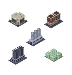 isometric building set of company clinic water vector image
