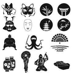 Japan icons set japanese theme symbols vector
