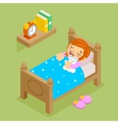 Little girl sleeping with teddy bear Isometric vector image