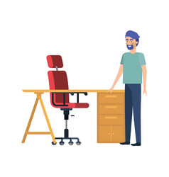 Man in work office with white background vector