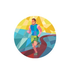 Marathon runner running circle low polygon vector