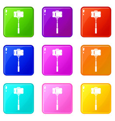 mobile phone on a selfie stick icons 9 set vector image