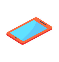 modern red digital tablet with blue screen vector image