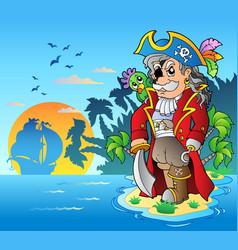 Noble corsair standing on island vector