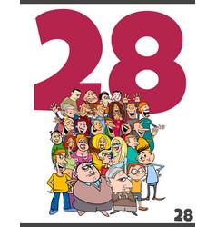 Number twenty eight and cartoon people crowd vector