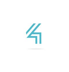 Numeral 4 logo icon design template elements vector