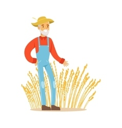 Old Man With Wheat Ear Crops Farmer Working At vector image