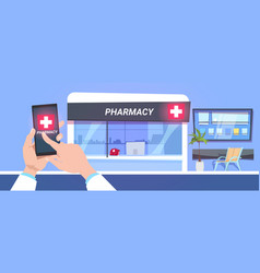 Online pharmacy store service hand hold smart vector
