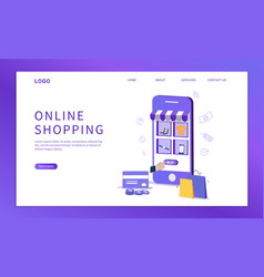 online shopping with smartphone vector image