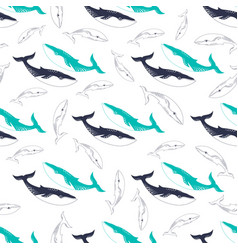 pattern with colored whales vector image