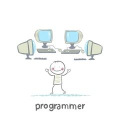 Programmer worth around computers vector