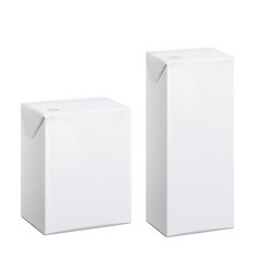 Realistic white carton pack for juice vector