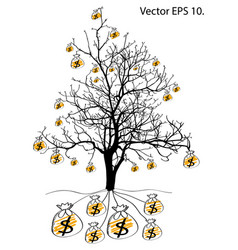 Save money with dead tree without leaves vector