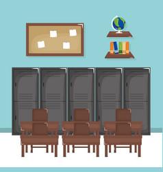 School classroom with schooldesks scene vector
