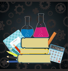 science and education background with school vector image