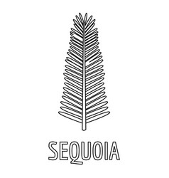 Sequoia branch icon outline style vector