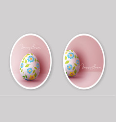 set easter greeting card with vector image