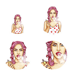 Set of round avatars with vaping girl vector